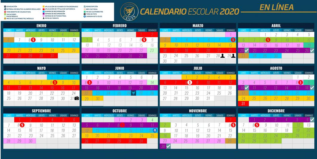 CALENDARIO ESCOLAR 2020 EN LÍNEA